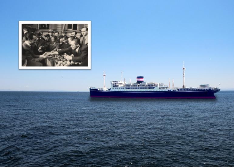難民たちが乗った氷川丸と神戸でユダヤ難民に林檎を配る日本人クリスチャン